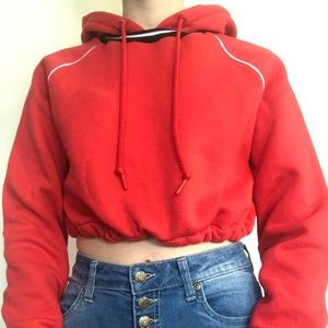 Red Sweater Crop Top